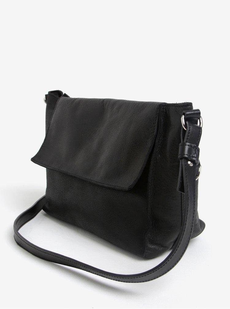 Černá kožená crossbody kabelka ELEGA Klopnovka