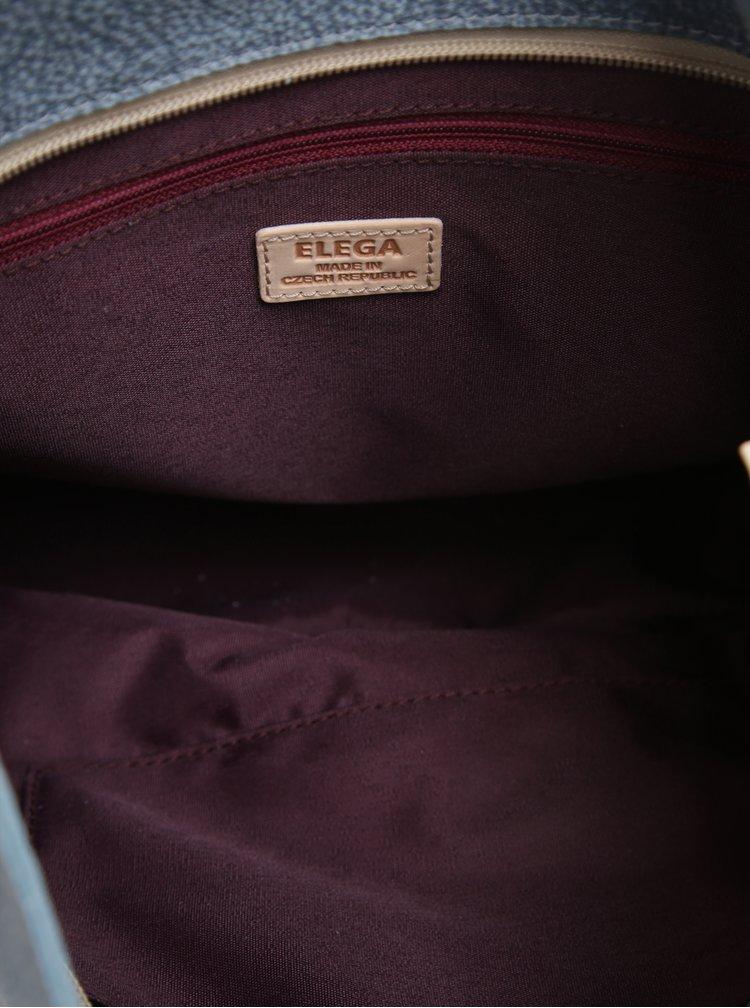 Krémovo-modrá kožená kabelka ELEGA Malý Buffy