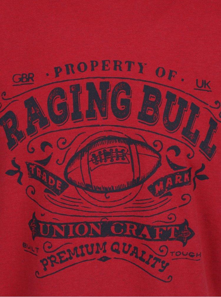 Červené tričko s potiskem Raging Bull