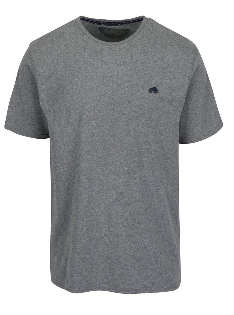 Šedé tričko s výšivkou loga Raging Bull