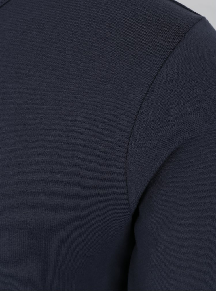 Tmavomodré basic tričko s dlhým rukávom Jack & Jones Basic