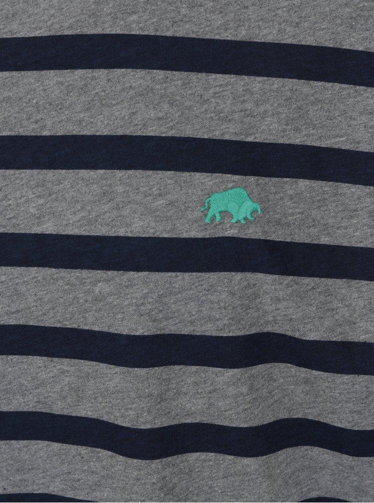 Modro-šedé pruhované tričko s výšivkou loga Raging Bull