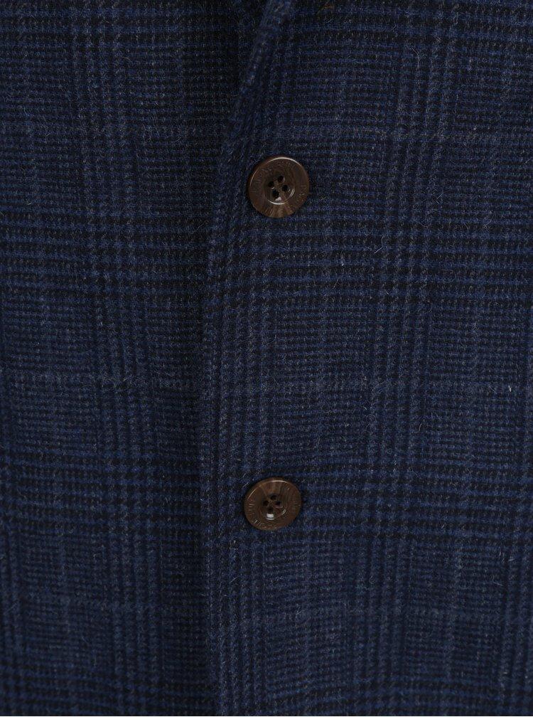 Tmavě modré kostkované vlněné sako s broží ve tvaru býka Raging Bull