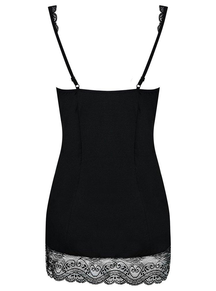 Set noční košilky s kamínky v dekoltu a tang v černé barvě Obsessive Miamor chemise