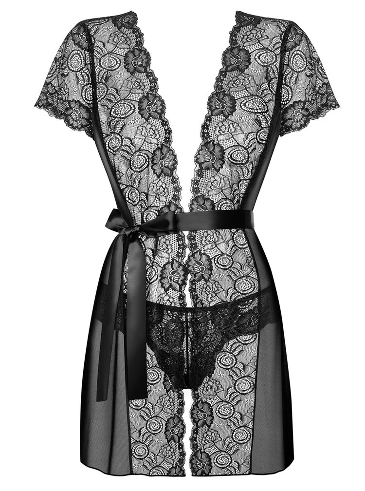 Súprava priesvitnej zvinovacej nočnej košieľky so saténovým pásikom a táng v čiernej farbe Obsessive Alluria peignoir
