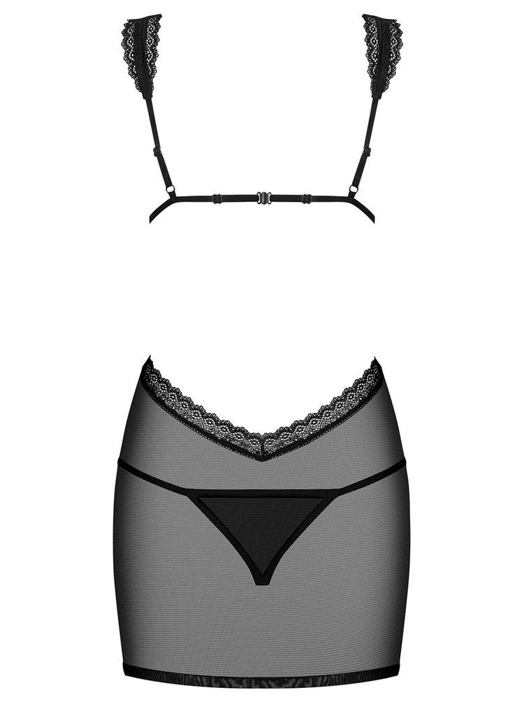 Set průsvitné noční košilky s průstřihy a tang v černé barvě Obsessive Swanita chemise