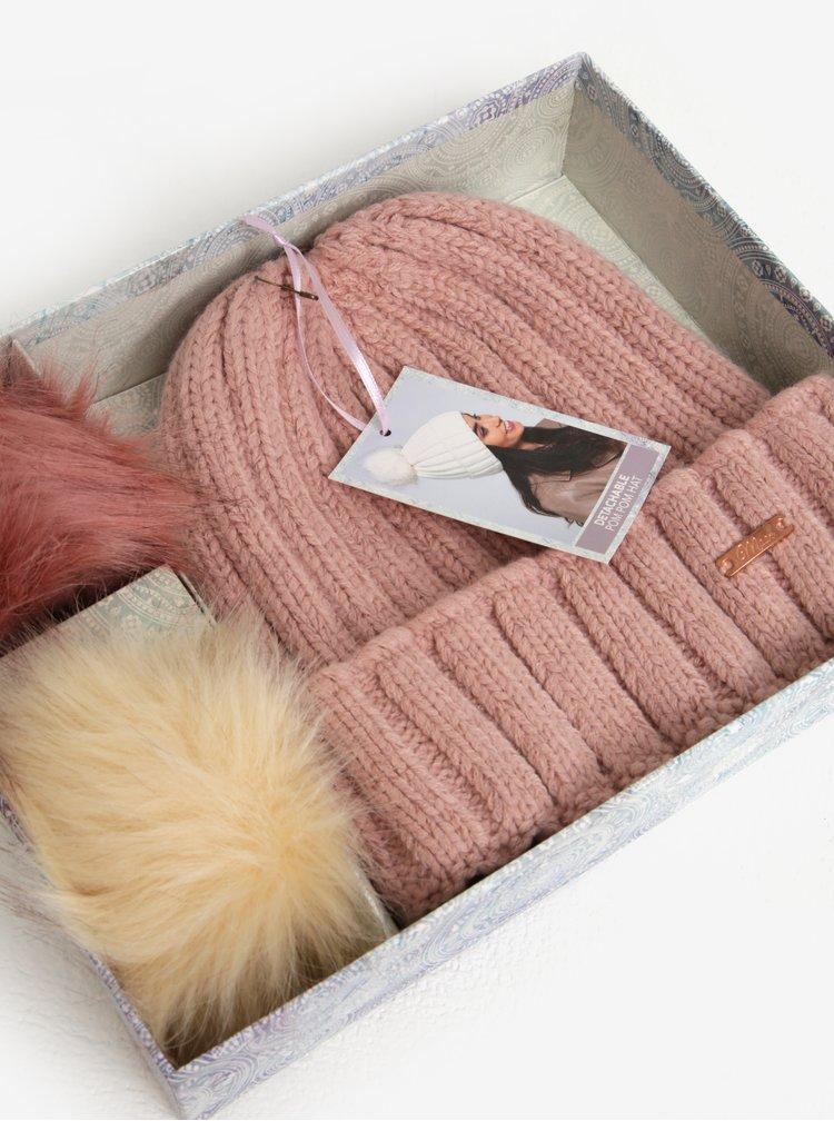Růžová dámská čepice s odepínatelnými bambulemi Something Special