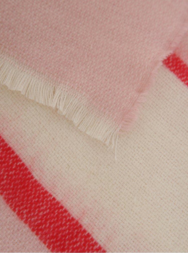 Krémovo-růžová pruhovaná šála Pieces Dia