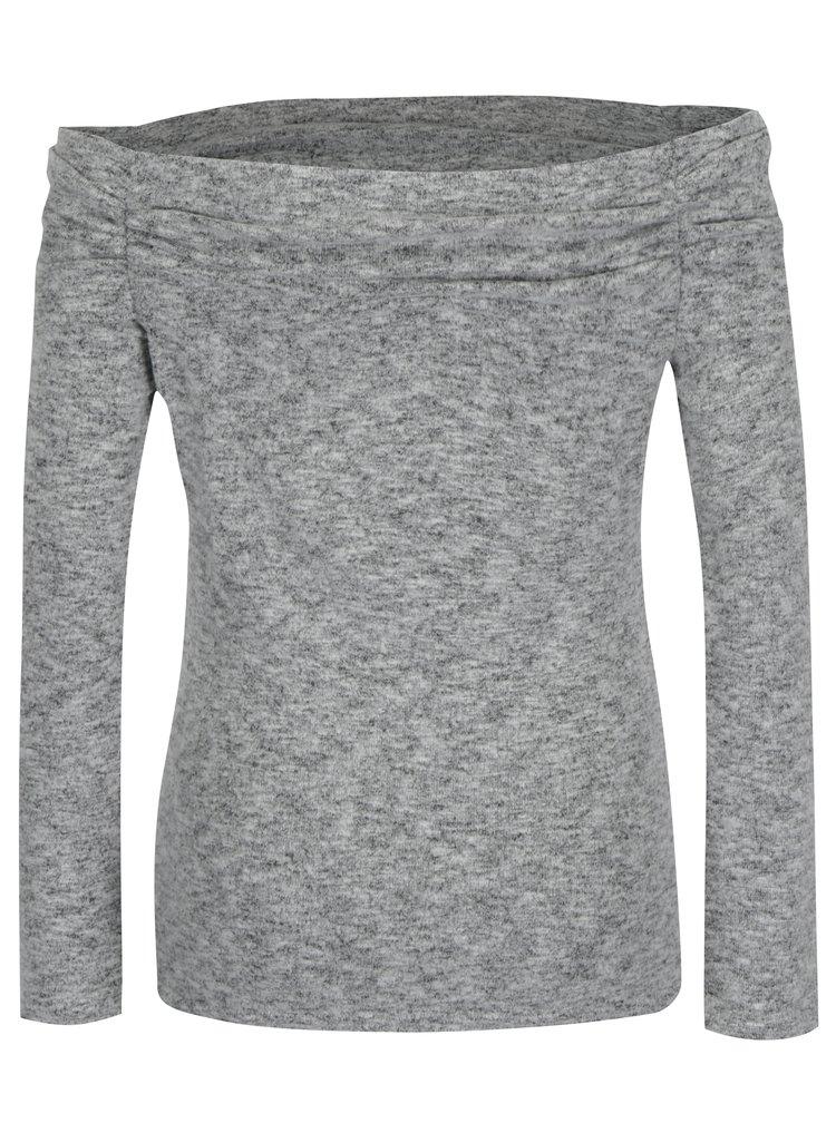 Šedý žíhaný svetr s odhalenými rameny Dorothy Perkins