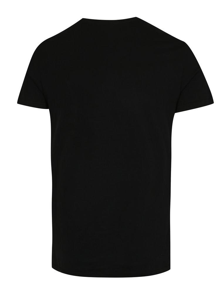 Tricou negru slim fit cu print - Blend