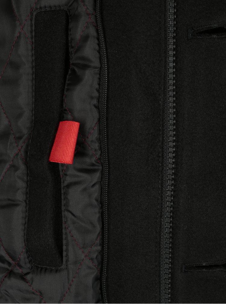 Palton negru lung cu guler inalt pentru barbati - s.Oliver