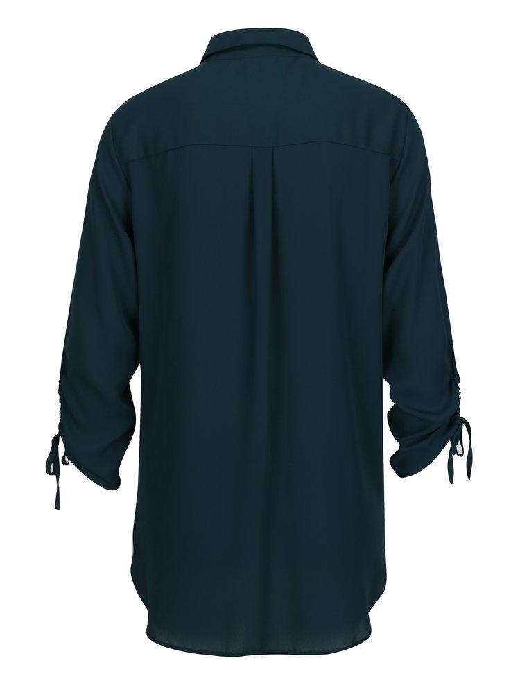 Zelená dlouhá košile s náprsní kapsou a 3/4 rukávy Dorothy Perkins