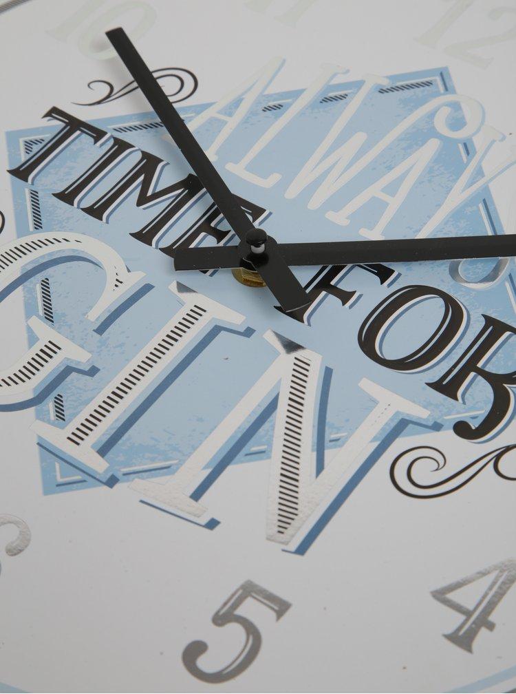 Ceas alb & bleu de perete - SIFCON GIN 30x30