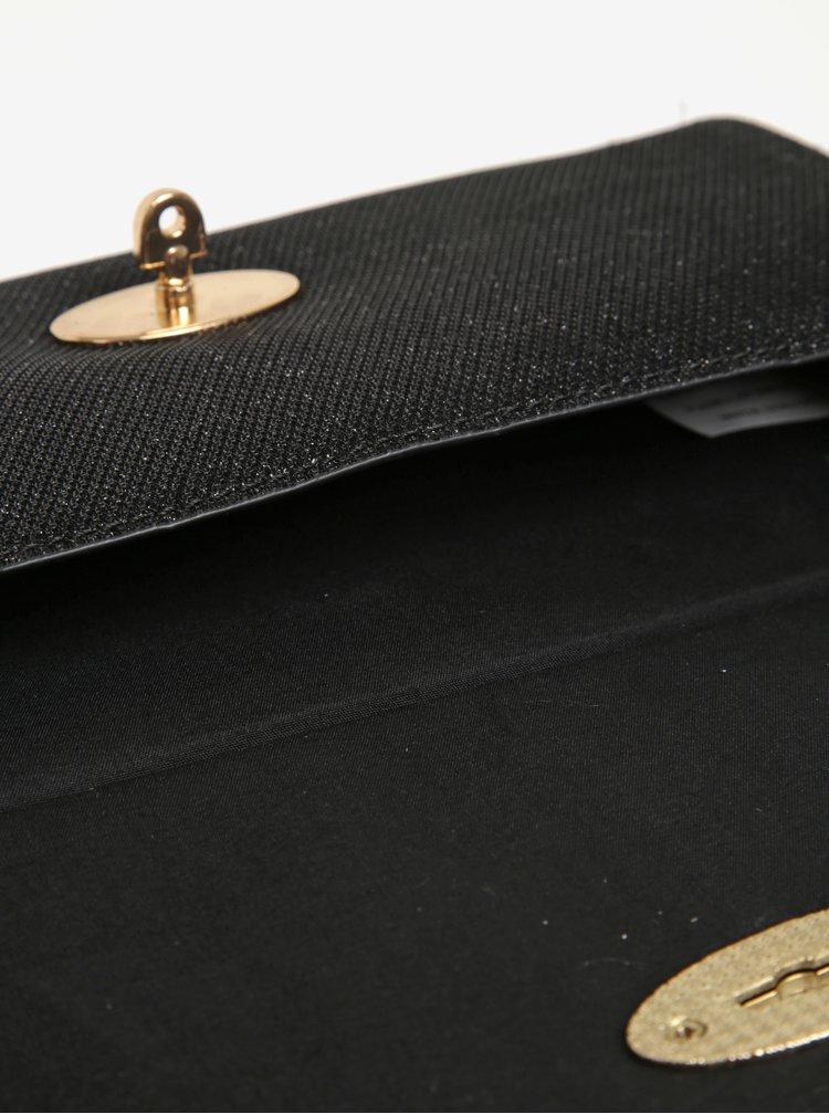 Černé třpytivé psaníčko s detaily ve zlaté barvě Juno