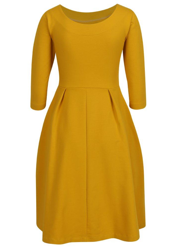 Žlté áčkové šaty s 3/4 rukávmi Miestni Kla