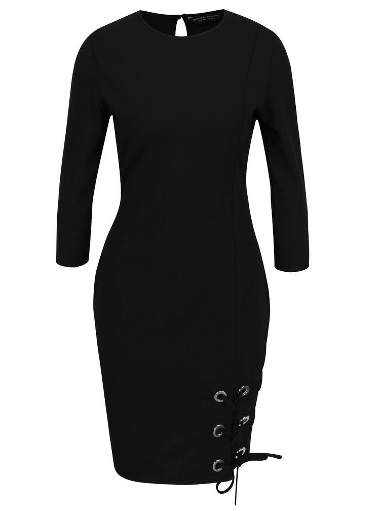 Černé šaty se šněrováním Dorothy Perkins