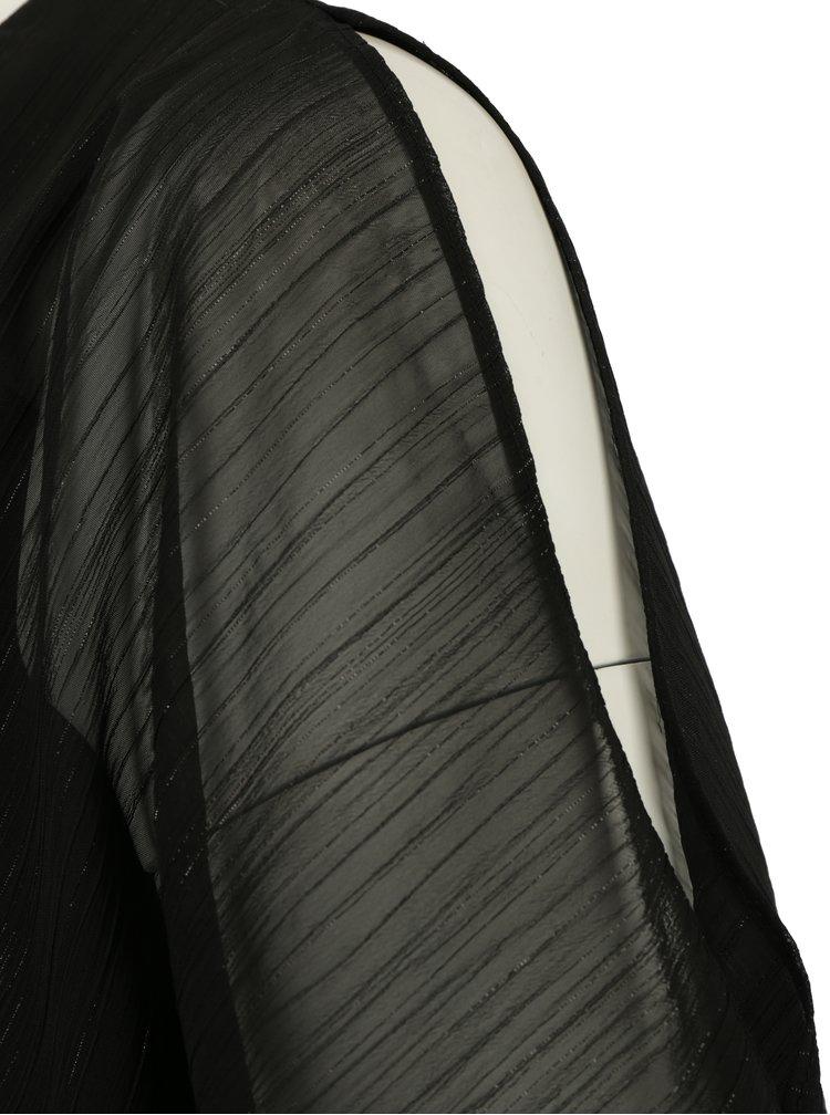 Černá halenka s průstřihy na rukávech a s řetízkem M&Co