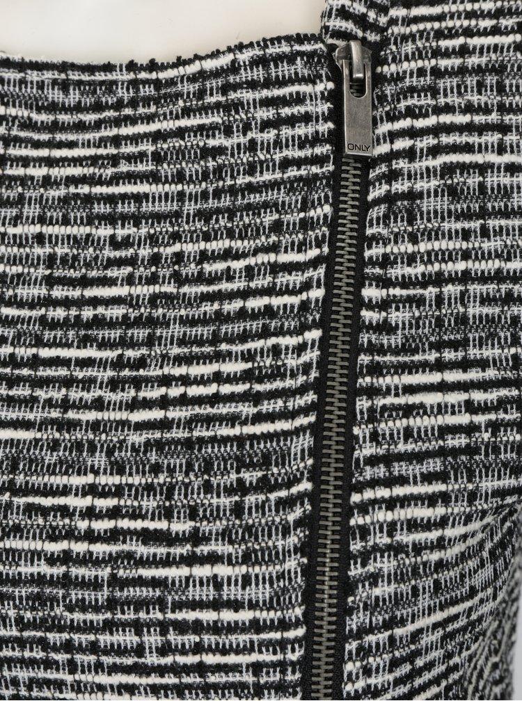 Bílo-černý vzorovaný kardigan na zip ONLY Coco