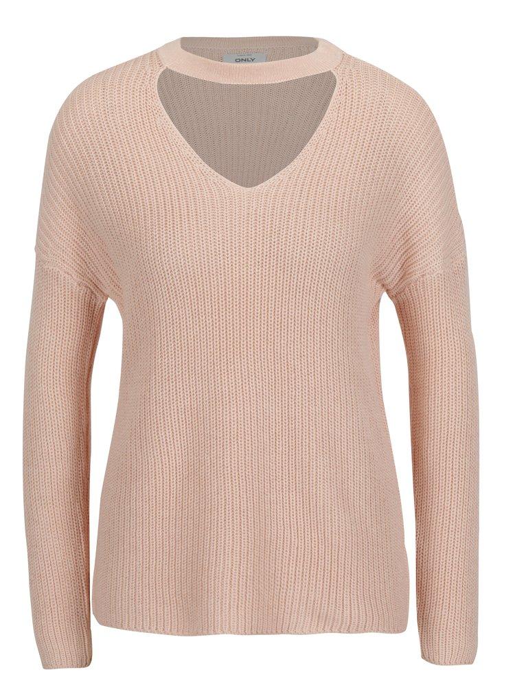 Světle růžový žebrovaný svetr s chokerem ONLY Kristi