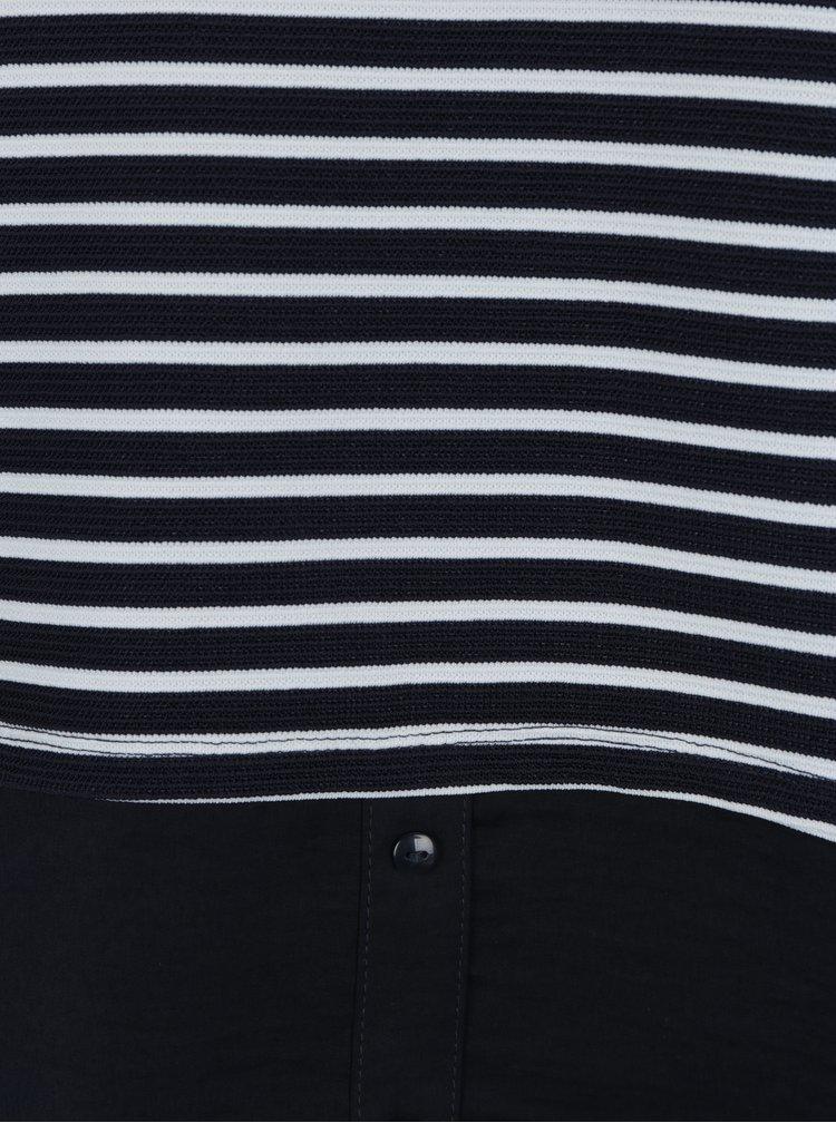 Bílo-modré pruhované tričko s límečkem ONLY Carmella
