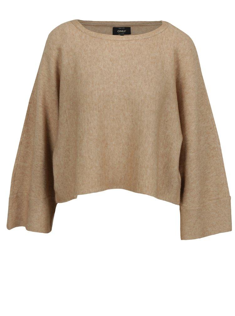 Béžový krátký oversize svetr s netopýřími rukávy ONLY Livency