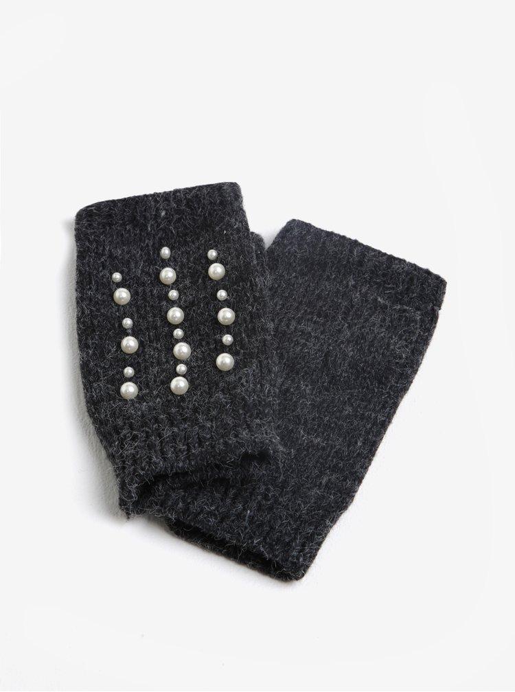 Tmavě šedé žíhané bezprstové rukavice Miss Selfridge