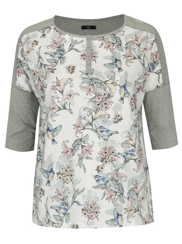 Krémovo-šedé dámské tričko s motivem květin a ptáků M&Co Plus