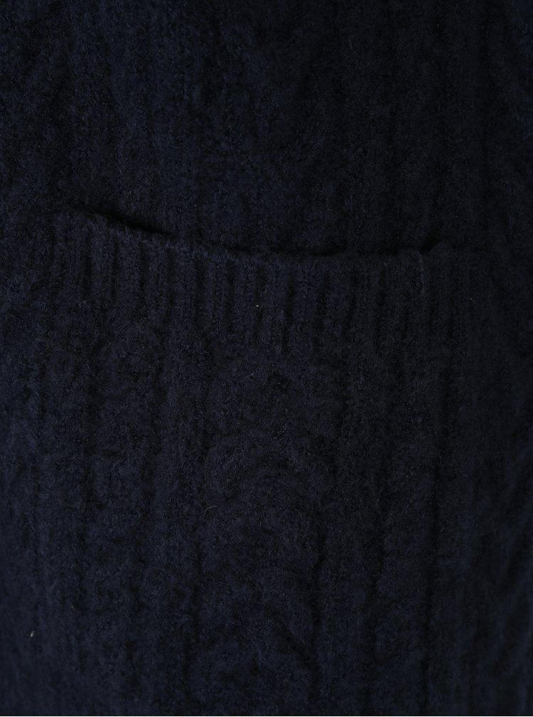 Tmavě modrý dámský kardigan s kapucí a kapsami M&Co