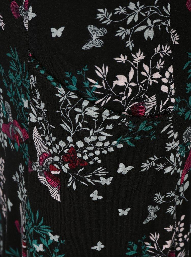 Černé květované šaty s tříčtvrtečními rukávy do zvonu M&Co