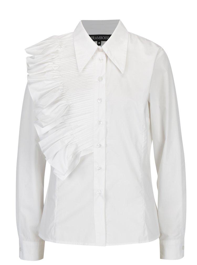 Bílá košile s řasením na předním dílu Framboise Lotus