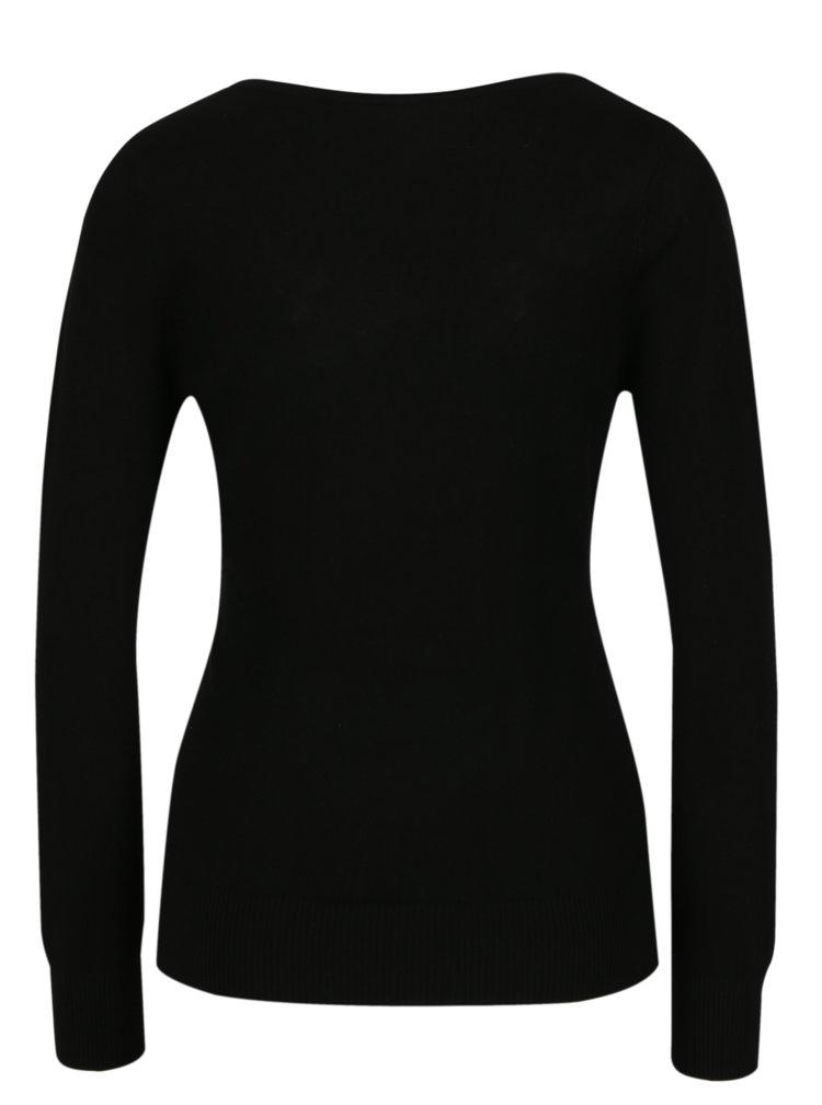 Černý svetr s výšivkou květin M&Co