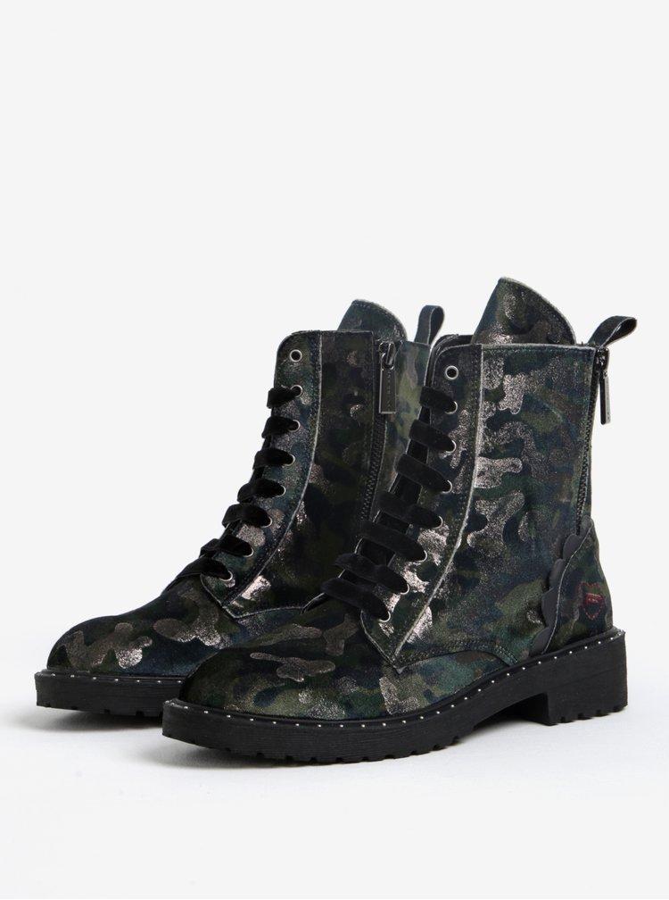 Zelené kožené maskáčové kotníkové boty Fornarina Kim