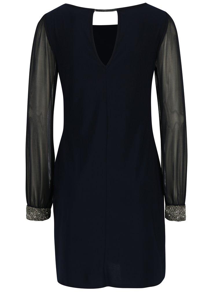 Tmavě modré šaty s průsvitnými rukávy Apricot