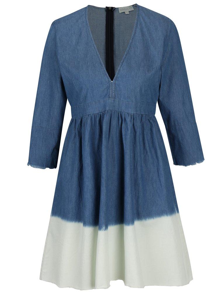 Modré rifľové šaty s véčkovým výstrihom Apricot