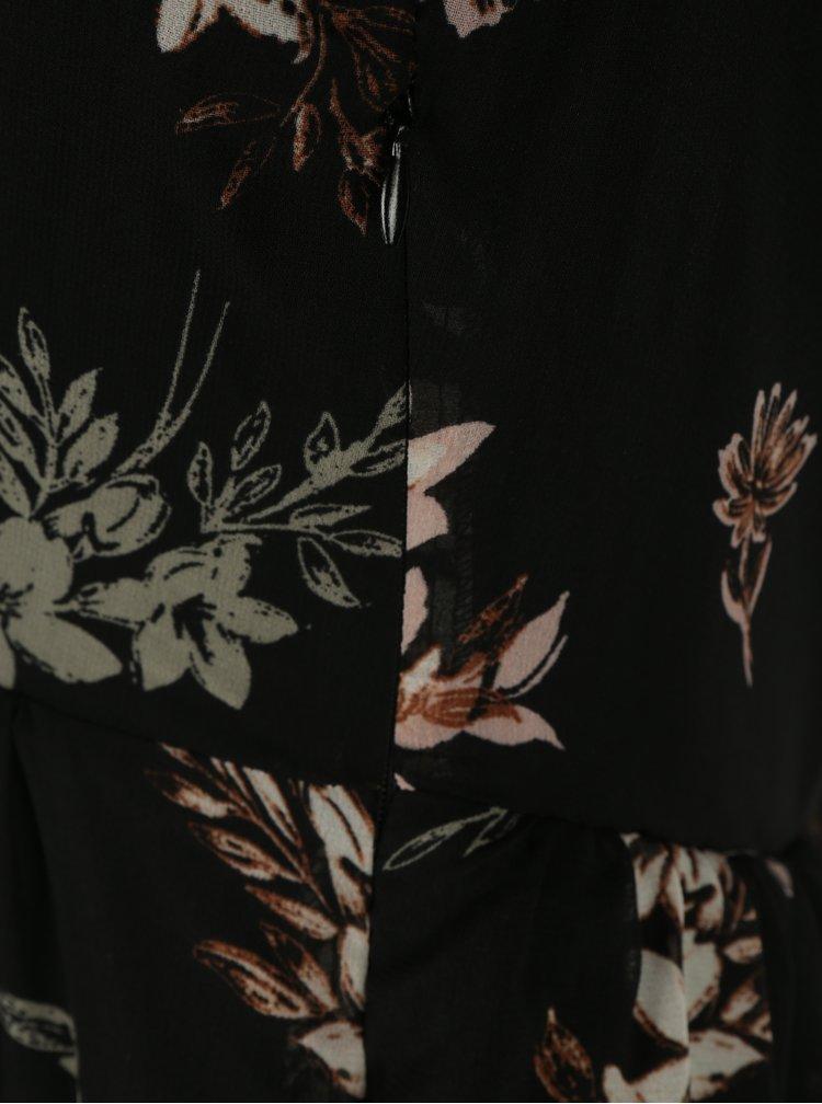 Černé květované minišaty s průsvitným rukávem Apricot
