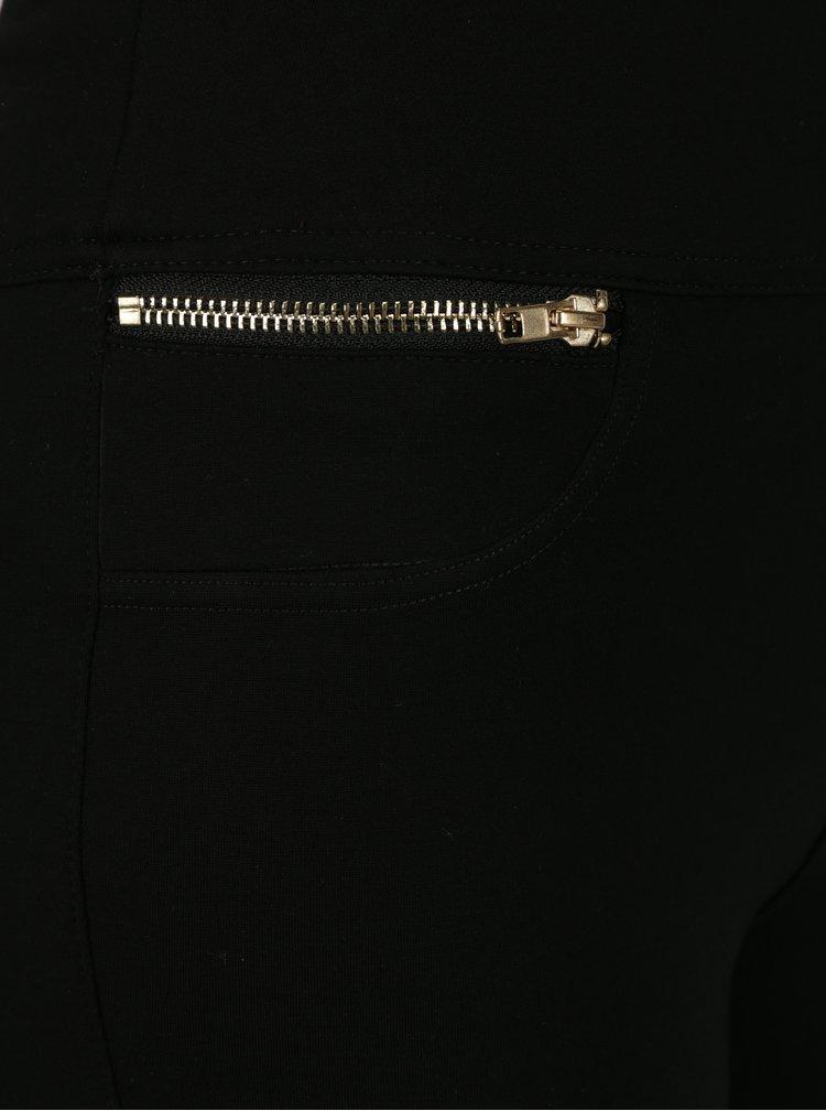 Černé kalhoty s vyšším pasem a kapsami na zip Apricot