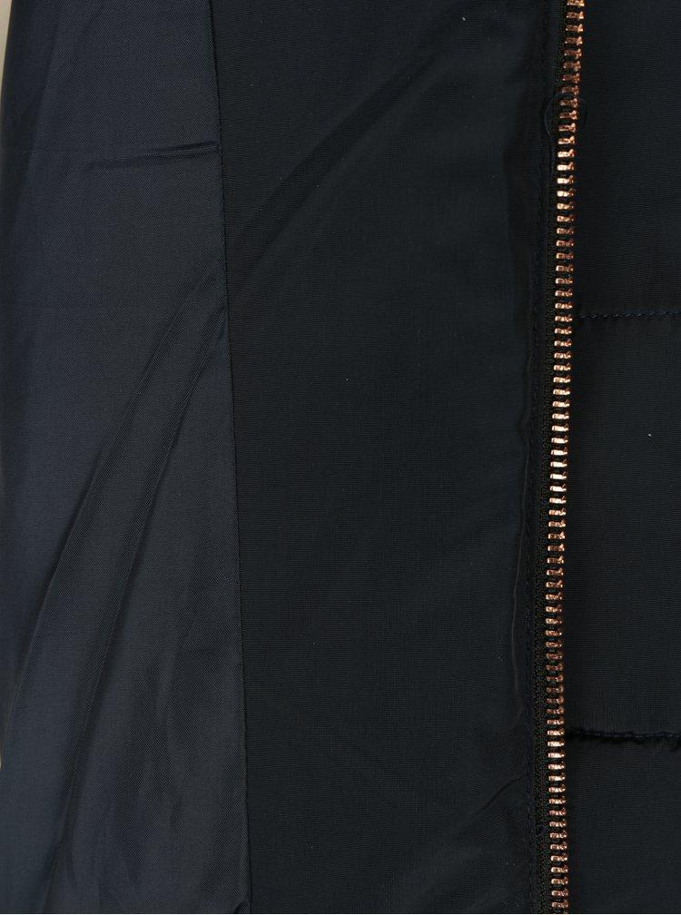 Tmavě modrá prošívaná zimní bunda s páskem Apricot