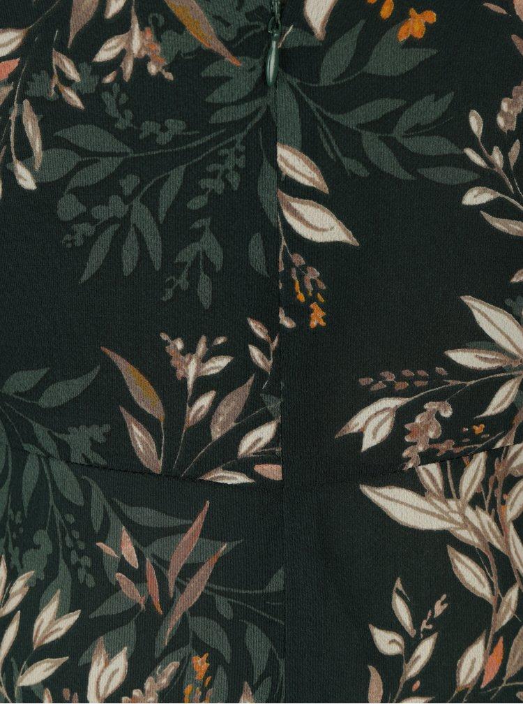 Rochie midi verde inchis cu print floral Apricot