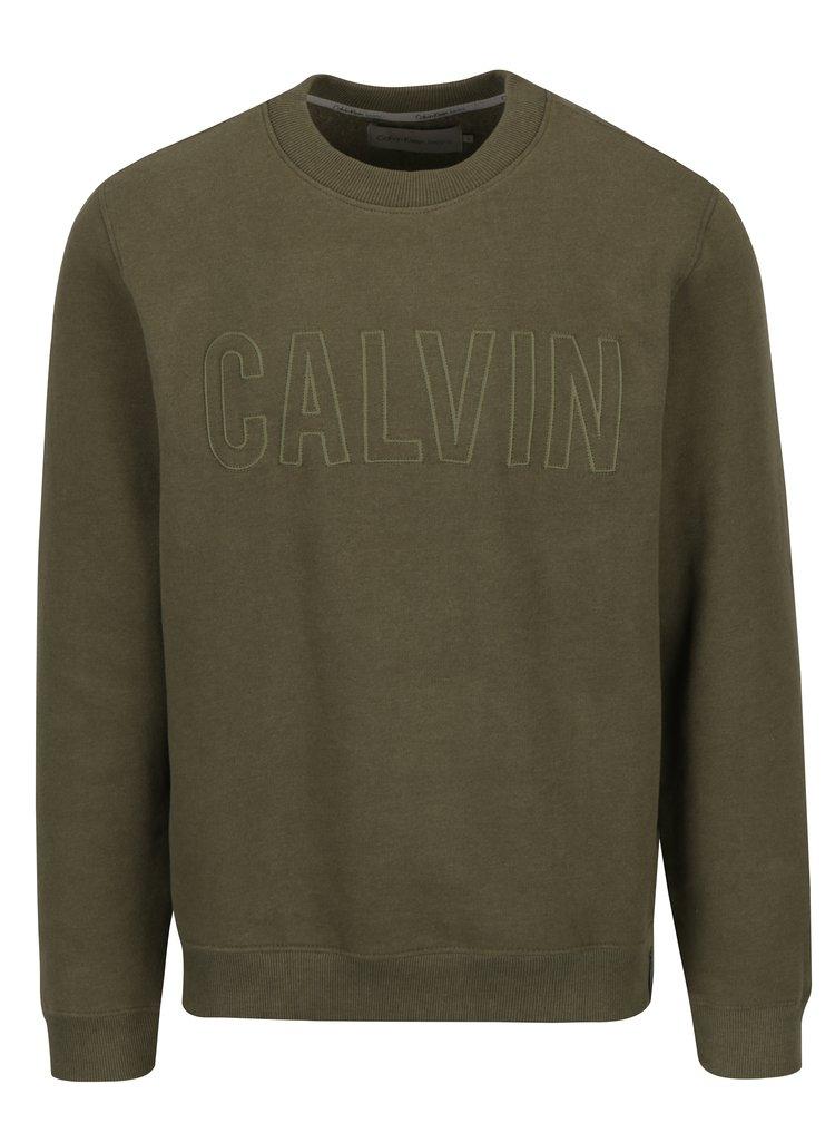 Khaki pánská mikina s výšivkou Calvin Klein Jeans Hyperon
