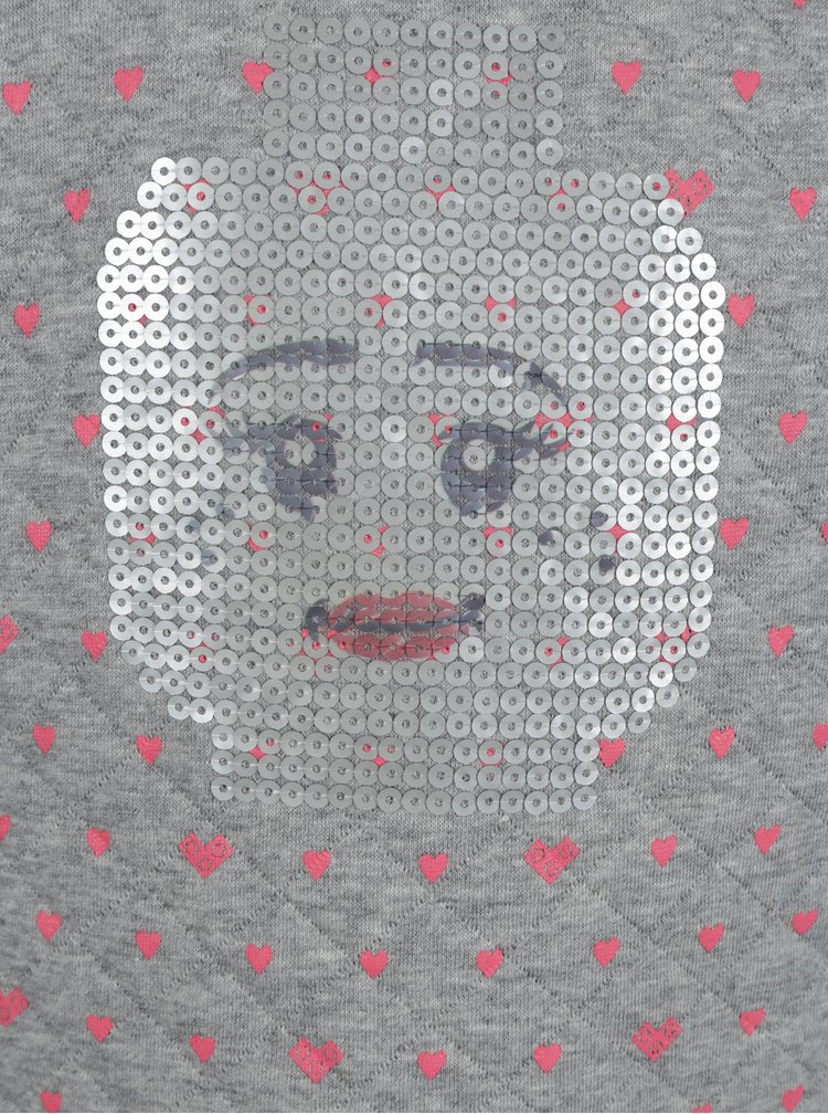 Šedá holčičí mikina se srdíčky a flitry Lego Wear Sabrine