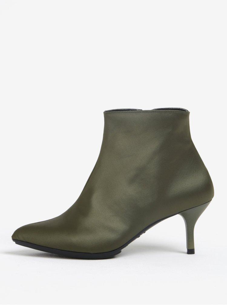 Khaki kotníkové boty na podpatku OJJU