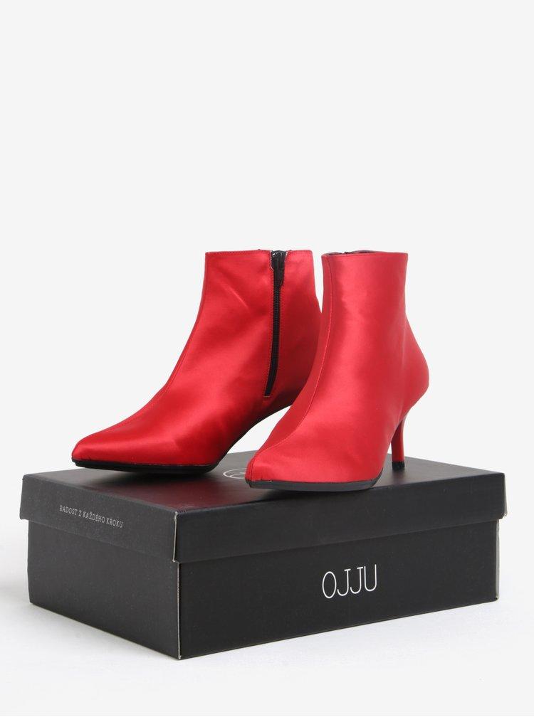Červené kotníkové boty na podpatku OJJU