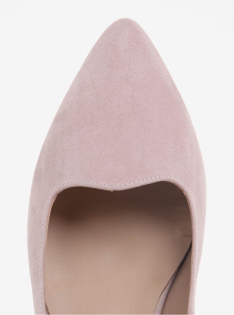 Světle růžové baleríny v semišové úpravě na nízkém podpatku OJJU