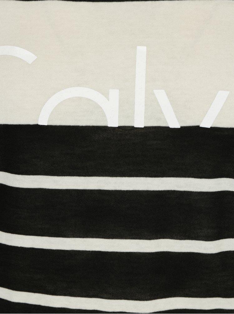 Černo-krémové dámské pruhované průsvitné tričko Calvin Klein Jeans T-Core