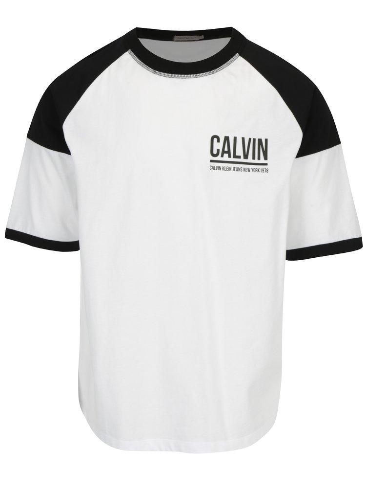 Černo-bílé pánské tričko Calvin Klein Jeans Tiboro