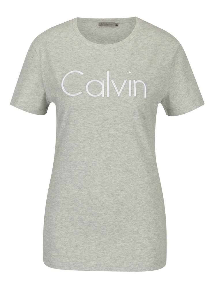 Svetlosivé dámske tričko s výšivkou Calvin Klein Jeans Tanya