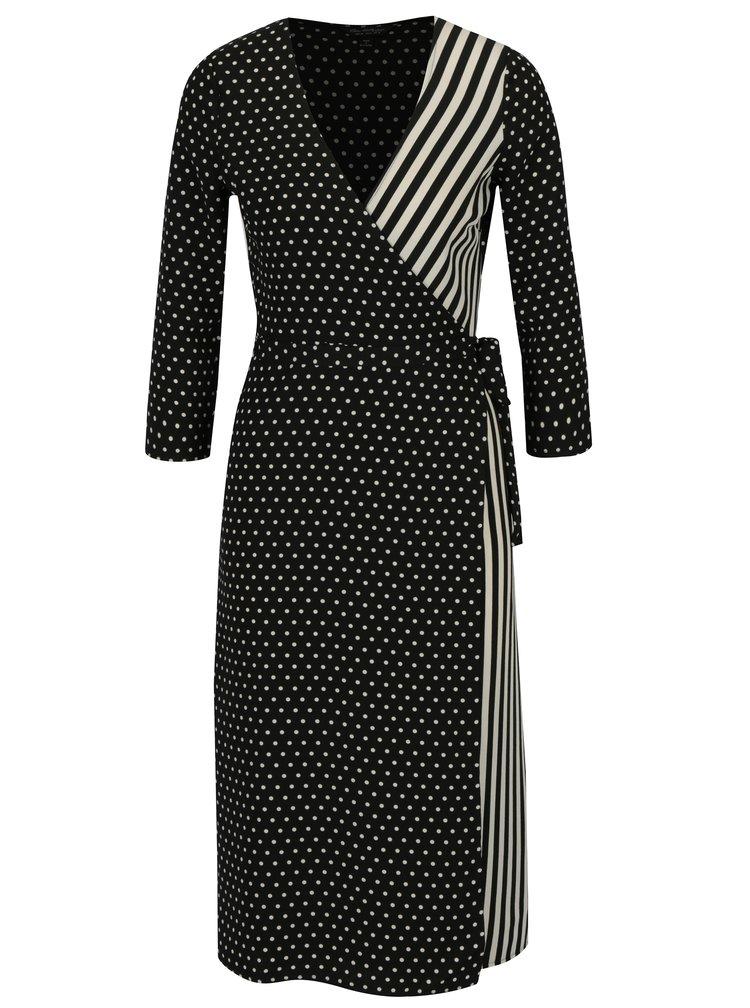 Černé vzorované zavinovací šaty Miss Selfridge