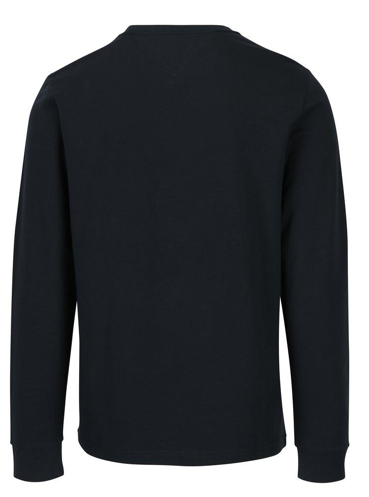 Tmavě modré pánské tričko s dlouhým rukávem a nášivkou Tommy Hilfiger Allen