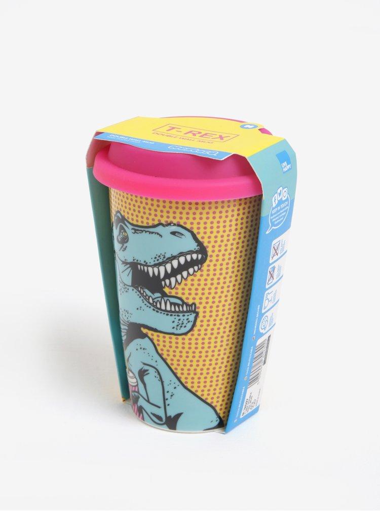 Porcelánový cestovní hrnek s motivem T-Rexe Mustard