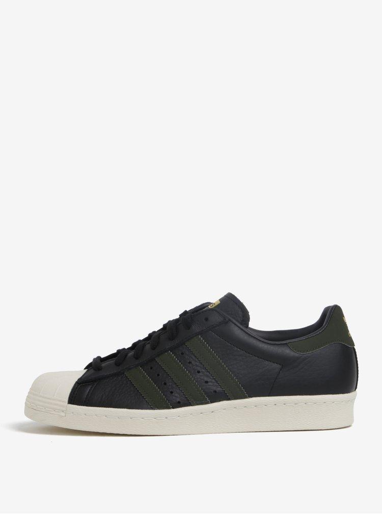Pantofi sport negri din piele pentru barbati adidas Originals Superstar 80s